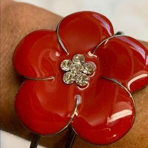 Jewelry - Red enamel flower bangle bracelet